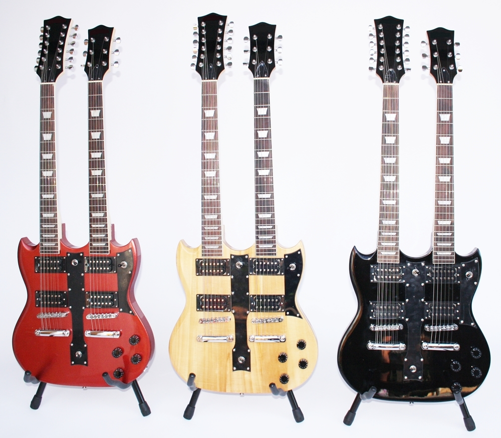 top price pasadena electric guitar double neck in 3 colors ebay. Black Bedroom Furniture Sets. Home Design Ideas